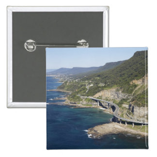 Aerial view of Sea Cliff Bridge near Wollongong, 2 15 Cm Square Badge