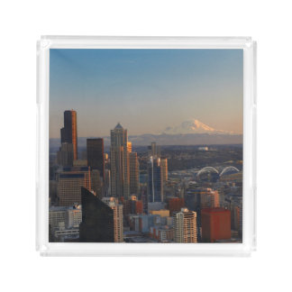 Aerial view of Seattle city skyline 2 Acrylic Tray