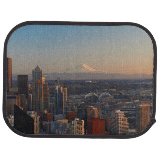 Aerial view of Seattle city skyline 2 Car Mat