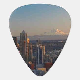Aerial view of Seattle city skyline 2 Guitar Pick