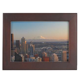 Aerial view of Seattle city skyline 2 Keepsake Box