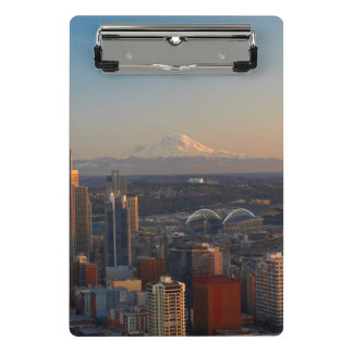 Aerial view of Seattle city skyline 2 Mini Clipboard
