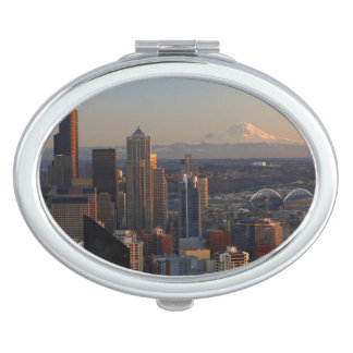Aerial view of Seattle city skyline 2 Mirror For Makeup