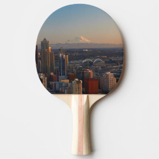 Aerial view of Seattle city skyline 2 Ping Pong Paddle