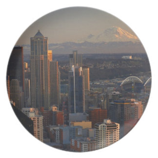 Aerial view of Seattle city skyline 2 Plate