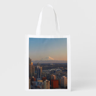 Aerial view of Seattle city skyline 2 Reusable Grocery Bag