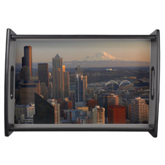 Aerial view of Seattle city skyline 2 Serving Tray