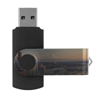 Aerial view of Seattle city skyline 2 USB Flash Drive