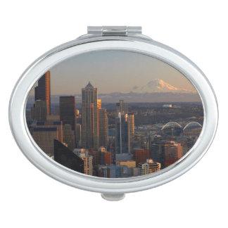 Aerial view of Seattle city skyline 2 Vanity Mirror