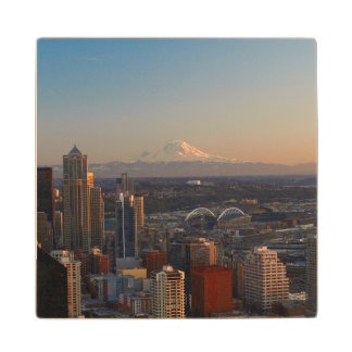 Aerial view of Seattle city skyline 2 Wood Coaster