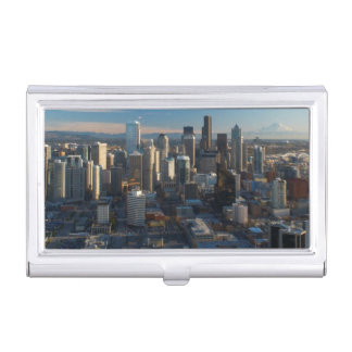 Aerial view of Seattle city skyline Business Card Holder