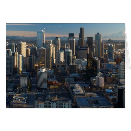 Aerial view of Seattle city skyline Cards