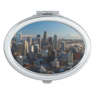 Aerial view of Seattle city skyline Makeup Mirrors