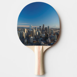 Aerial view of Seattle city skyline Ping Pong Paddle