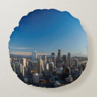 Aerial view of Seattle city skyline Round Cushion