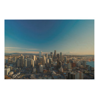Aerial view of Seattle city skyline Wood Wall Art