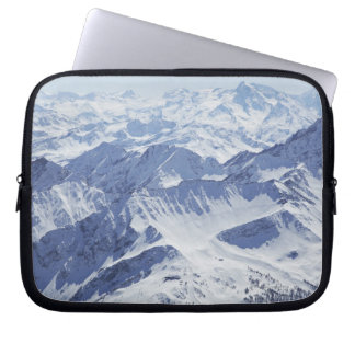 Aerial view of snow covered mountains laptop sleeve