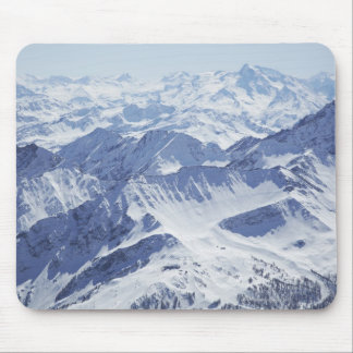 Aerial view of snow covered mountains mouse pad
