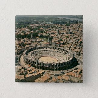 Aerial view of the amphitheatre 15 cm square badge