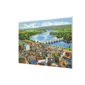 Aerial View of the City and the Connecticut Canvas Print