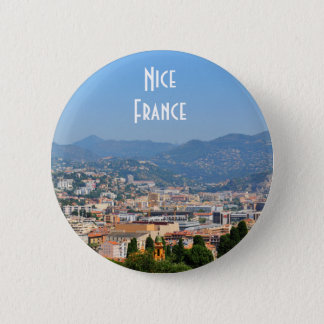 Aerial view of the city of Nice in France 6 Cm Round Badge