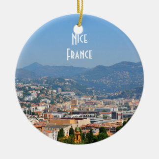 Aerial view of the city of Nice in France Round Ceramic Decoration