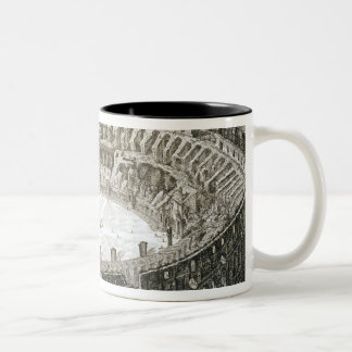 Aerial view of the Colosseum in Rome from 'Views o Two-Tone Coffee Mug