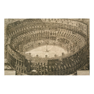 Aerial view of the Colosseum in Rome from 'Views o Wood Print