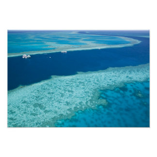Aerial view of The Great Barrier Reef by the Poster