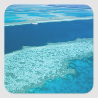 Aerial view of The Great Barrier Reef by the Square Sticker