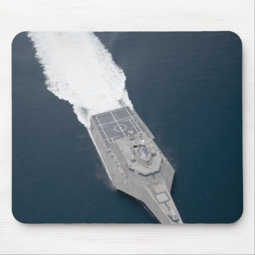 Aerial view of the littoral combat ship mousepad