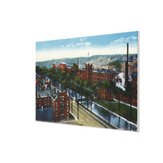 Aerial View of the Mills and Canal Stretched Canvas Prints