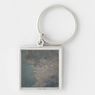 Aerial view of the Port-au-Prince area of Haiti Silver-Colored Square Key Ring