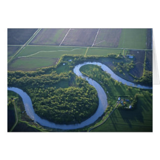 Aerial view of the Red River of the North Card