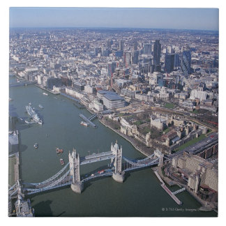 Aerial View of the River Thames Large Square Tile