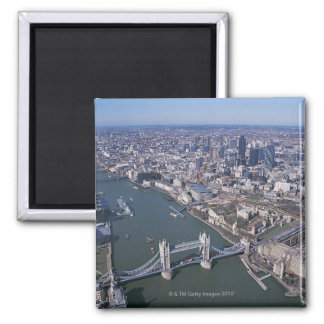 Aerial View of the River Thames Square Magnet
