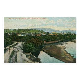 Aerial View of the San Lorenzo River Poster