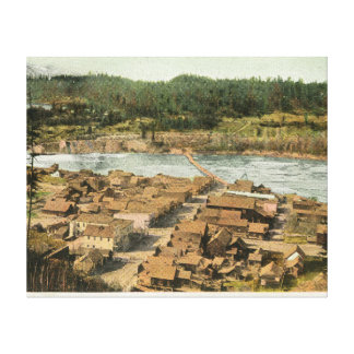 Aerial View of the Town and River Canvas Print