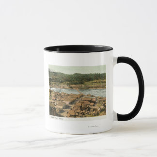 Aerial View of the Town and River Mug