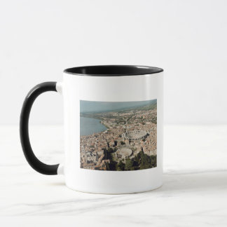 Aerial view of the town with mug