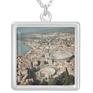 Aerial view of the town with silver plated necklace