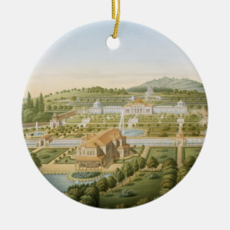 Aerial view of the villa of King Guillaume of Wurt Round Ceramic Decoration