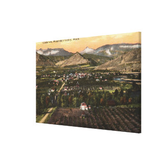 Aerial View of Town and Valley Canvas Print