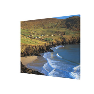 aerial view of waves washing up against a gallery wrap canvas