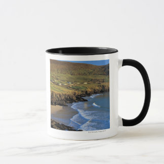 aerial view of waves washing up against a mug