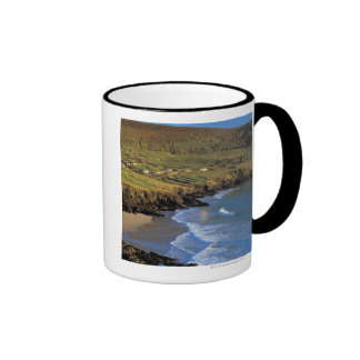 aerial view of waves washing up against a coffee mug