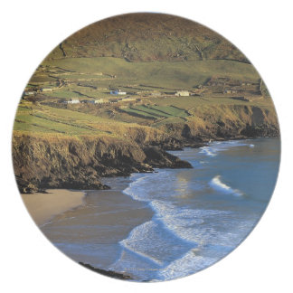aerial view of waves washing up against a plate