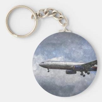 Aeroflot Airbus A330 Art Basic Round Button Key Ring