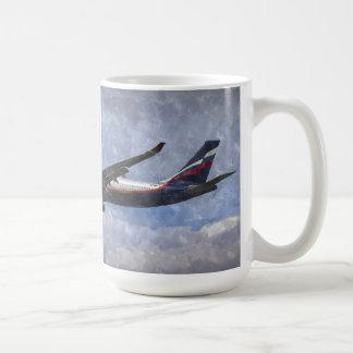Aeroflot Airbus A330 Art Basic White Mug