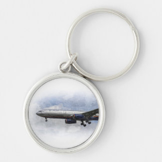 Aeroflot Airbus A330 Art Silver-Colored Round Key Ring